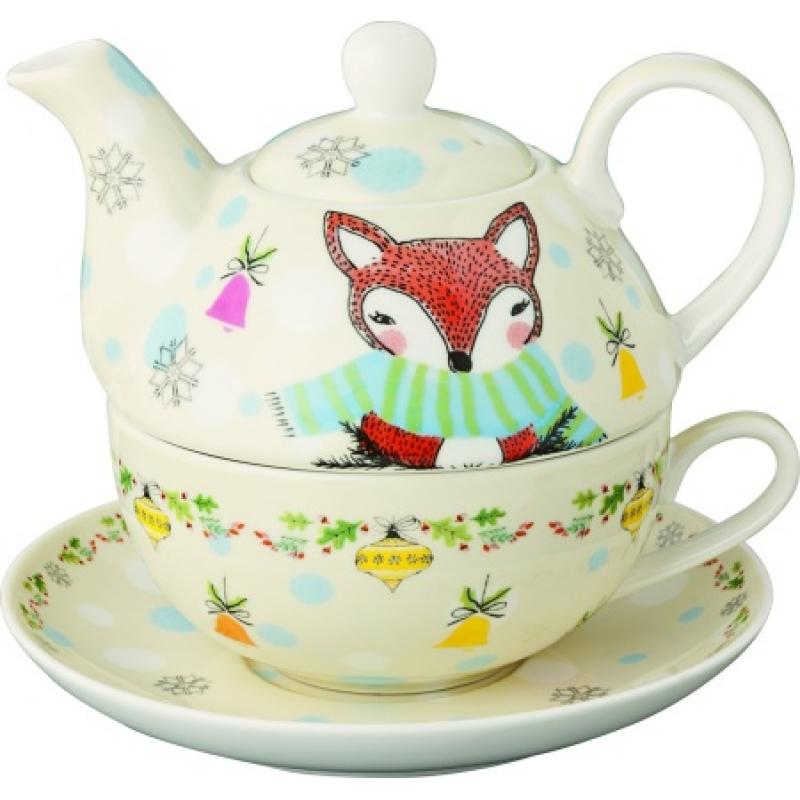 4 tlg dotty deer and funny fox porzellan tasse kanne untersetzer u. Black Bedroom Furniture Sets. Home Design Ideas