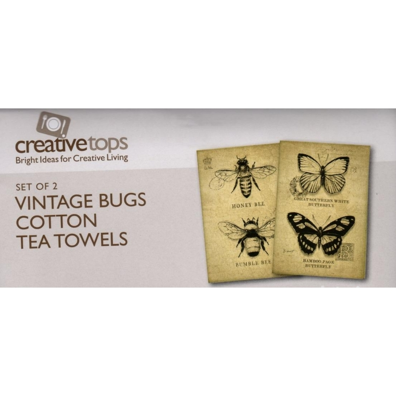 schmetterling biene vintage bugs leinen k chenhandtuch 2 tlg 16. Black Bedroom Furniture Sets. Home Design Ideas