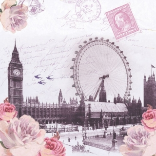 20 Servietten View London Tower Bridge Romantik Rose 33er Napkins