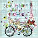 Paris Fahrrad Eiffelturm Happiness  33 x 33 cm
