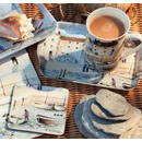 Cornish Harbour 3 tlg Set. Tasse Untersetzer Snack Tablett