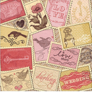 Romantische Briefmarken Romantic Stamps  33 x 33 cm
