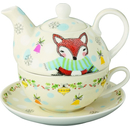 4 tlg.Dotty Deer and Funny Fox  Porzellan Tasse, Kanne,...