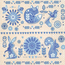 Ornament Blume Tiere Design in blue 33 x 33 cm